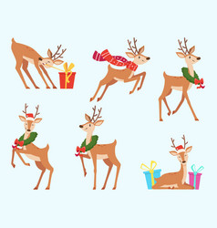 christmas deer cute fairytale animal reindeer in vector image