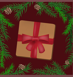 christmas holidays composition with gift vector image