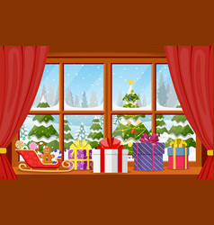 christmas window view with a snowy landscape vector image