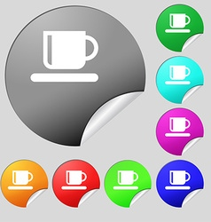 Coffee cup icon sign Set of eight multi-colored vector image
