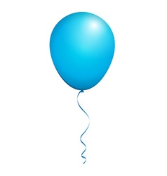 Color Glossy Blue Balloon isolated on White in vector