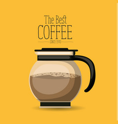 Color poster with rounded glass jar with coffee of vector