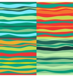 Color Waves Lines Seamless Background Set of 4 vector