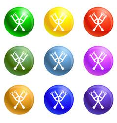 Crutches icons set vector