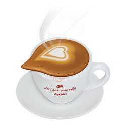Cup of hot cappuccino with steam and saucer vector