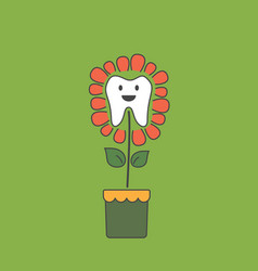 cute healthy tooth is growing as teeth flower vector image