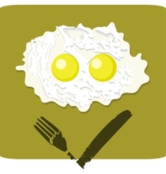 Double fried egg with grumpy face vector