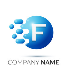 F letter splash logo blue dots and circle bubble vector