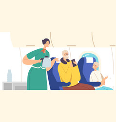 Family inside plane stewardess and passengers vector
