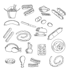 Fast food snacks and meat sketched icons vector
