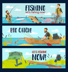 Fisherman with rods tackles and fish catch vector