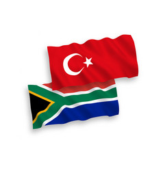 flags turkey and republic south africa on a vector image