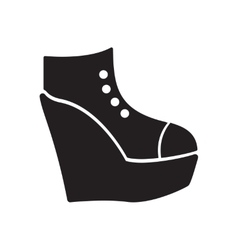 Flat icon in black and white platform shoes vector