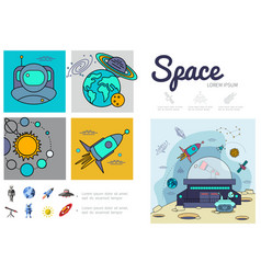 flat space infographic template vector image