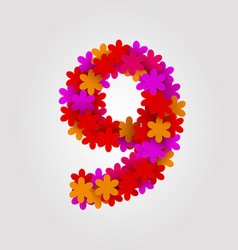Floral numbers colorful flowers number 9 vector