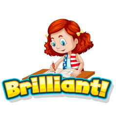Font design for word brilliant with cute girl vector