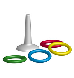 Game throwing rings toys in 3d vector