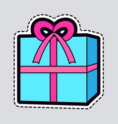 gift box blue new year present with pink ribbon vector image
