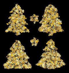 gold christmas tree holiday background bitcoin vector image