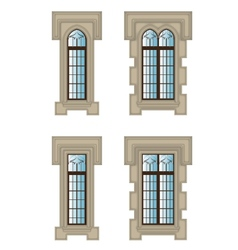Gothic windows set vector image