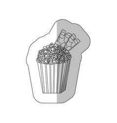 Grayscale contour sticker of popcorn container vector