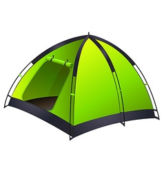 Green single camping tent vector