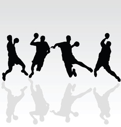 handball black player on white vector image