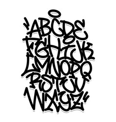 handwritten graffiti font alphabet black on white vector image