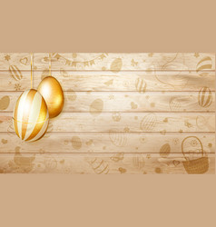 hanging golden easter eggs vector image