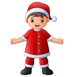 happy boy in santa claus costume vector image