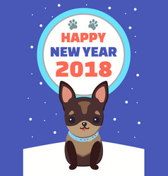 happy new year dog with collar vector image