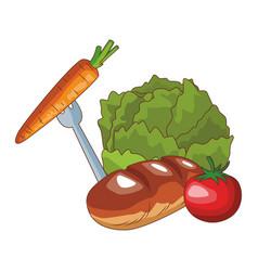 healthy food and ingredients vector image