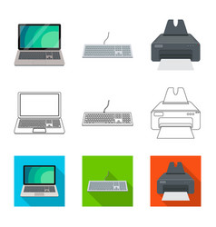 isolated object of laptop and device logo set of vector image