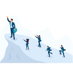 Isometric businessman at the top leadership vector