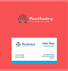 justice logo design with business card template vector image
