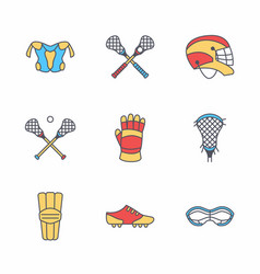 lacrosse sport game line icons ball stick vector image