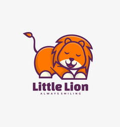 logo little lion simple mascot style vector image