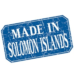 Made in Solomon Islands blue square grunge stamp vector