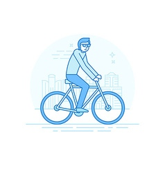 male character in flat linear style vector image