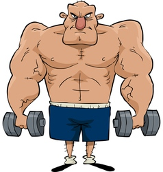 man with dumbbells vector image