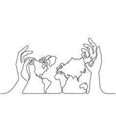 Map of the earth in human hands vector