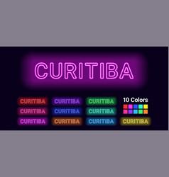 Neon name of curitiba city vector