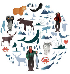 north polar circle icons and images animals vector image