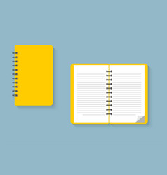 notebook notepad blank opened and closed notebook vector image