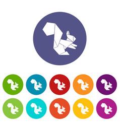 Origami squirrel icons set color vector
