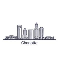 Outline charlotte banner vector