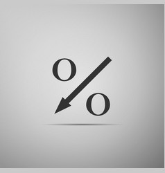 percent down arrow icon on grey background vector image