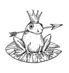 Princess frog engraving vector
