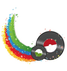 Rainbow and vinyl records vector image