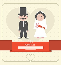 Retro Flat Design Wedding Card vector image